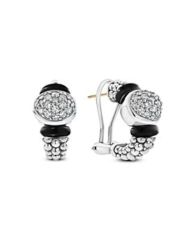 LAGOS - Sterling Silver Diamond & Black Ceramic Omega Back Earrings