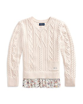 Ralph Lauren - Girls' Floral Hem Cable Knit Sweater - Little Kid, Big Kid
