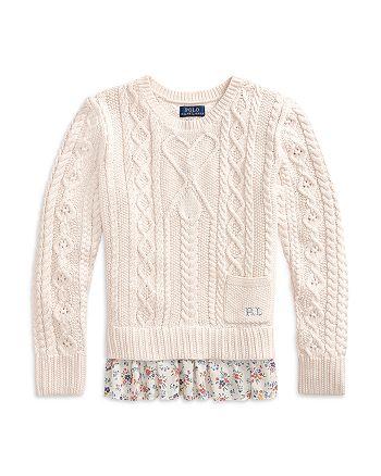 Ralph Lauren - Girls' Floral Hem Cable Knit Sweater - Little Kid, Big Kid