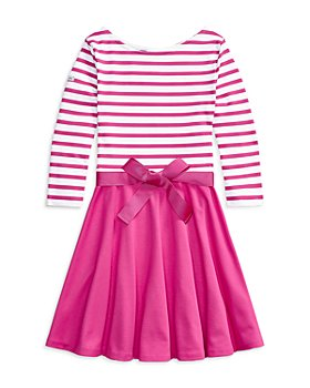 Ralph Lauren - Girls' Stripe Knit Ponte Dress - Little Kid, Big Kid