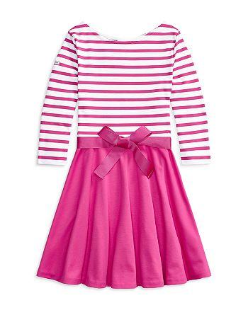 Ralph Lauren - Girls' Stripe Knit Ponte Dress - Little Kid, Big Kid