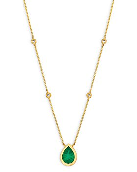 "Bloomingdale's - Emerald and Diamond Pear-Shaped Pendant Necklace in 14K Yellow Gold, 16"" - 100% Exclusive"