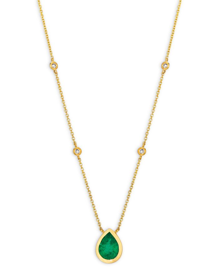 """Bloomingdale's Emerald and Diamond Pear-Shaped Pendant Necklace in 14K Yellow Gold, 16"""" - 100% Exclusive    Bloomingdale's"""