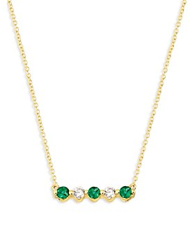 "Bloomingdale's - Emerald and Diamond 5-Stone Bar Necklace in 14K Yellow Gold, 16"" - 100% Exclusive"