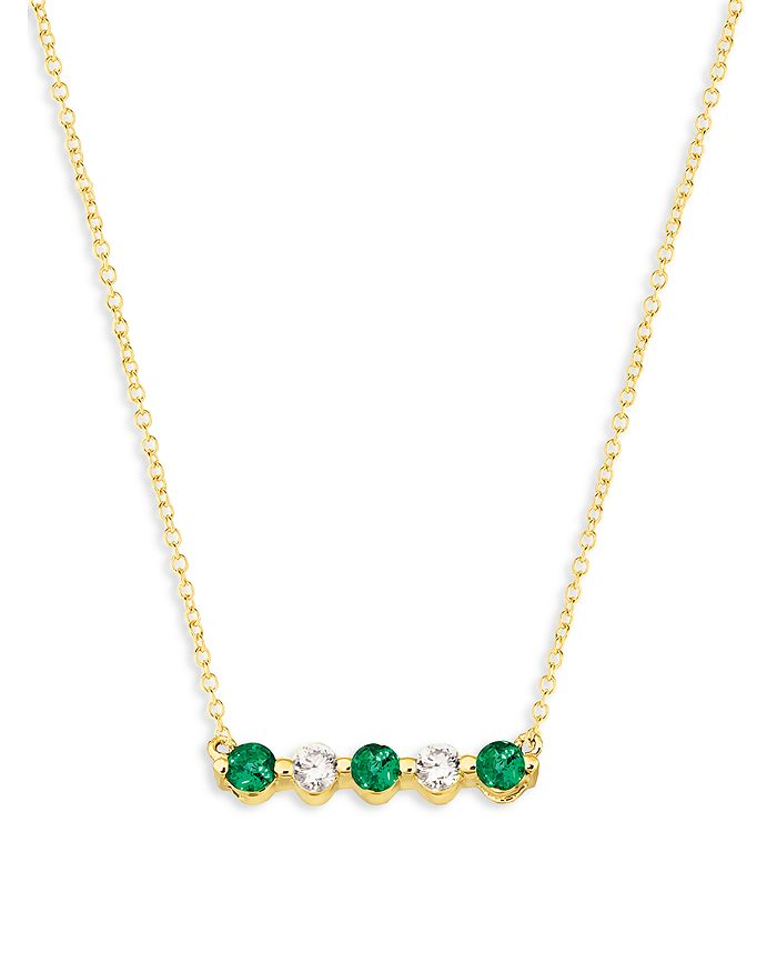 """Bloomingdale's - Emerald and Diamond 5-Stone Bar Necklace in 14K Yellow Gold, 16"""" - 100% Exclusive"""