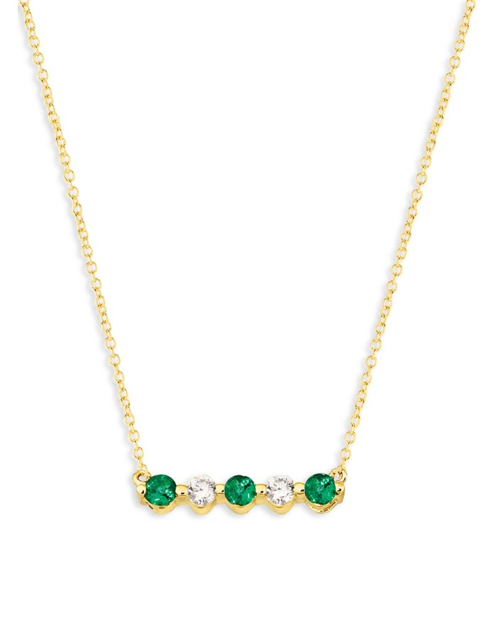 """Bloomingdale's Emerald and Diamond 5-Stone Bar Necklace in 14K Yellow Gold, 16"""" - 100% Exclusive    Bloomingdale's"""
