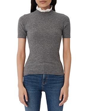 Maje Knits MOUTHY SHORT-SLEEVED RIB KNIT SWEATER WITH LACE COLLAR