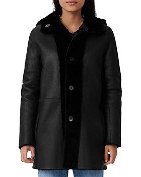 Maje - Gatina Reversible Hooded Shearling Coat