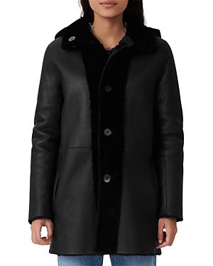 Maje Gatina Reversible Hooded Shearling Coat-Women