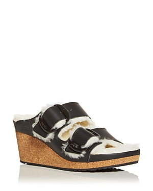 Birkenstock Women\\\'s Papillio Nora Shearling Wedge Slide Sandals