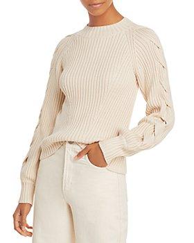 AQUA - Braided Sleeve Cotton Sweater