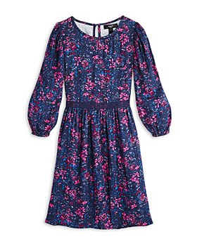 AQUA - Girls' Floral Printed Balloon Sleeve Cotton Dress - 100% Exclusive