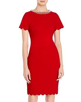 KARL LAGERFELD PARIS - Embellished Scalloped Dress