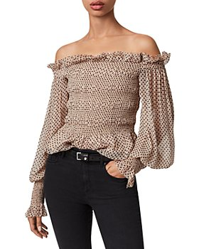 ALLSAINTS - Lara Polka Dot Off-the-Shoulder Blouse