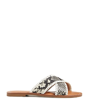 Jack Rogers WOMEN'S SLOANE CRISS CROSS SNAKE EMBOSSED LEATHER SANDALS