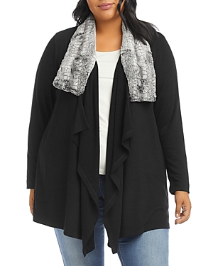 Karen Kane Plus Size Faux Fur Collar Jacket