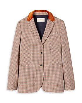 Tory Burch - Faux Fur Trim Plaid Blazer