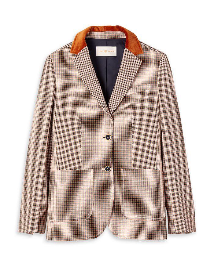 Tory Burch - Faux Fur Trim Plaid Blazer