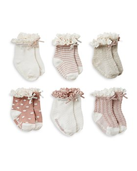 Elegant Baby - Girls' Ruffle Cuff Socks, 6 Pack - Baby