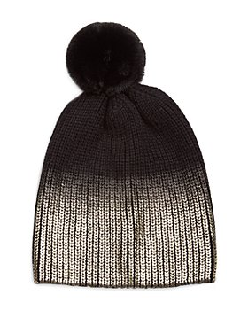 Jocelyn - Ombre Metallic & Faux Fur Pom Pom Knit Hat