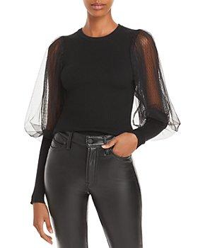 AQUA - Mesh Balloon Sleeve Sweater - 100% Exclusive