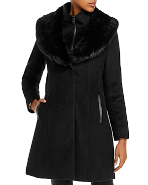 Via Spiga Faux Fur Collar Coat-Women