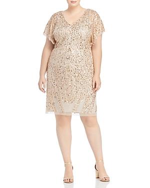 Adrianna Papell Plus Beaded Flutter Sleeve Dress