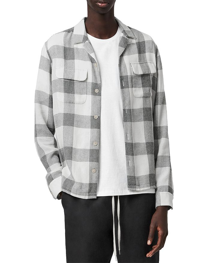 Allsaints Check Print Shirt In Ecru/black