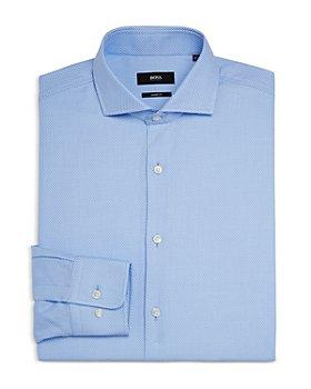 BOSS - Men's Mark US Cotton Micro Print Slim Fit Dress Shirt