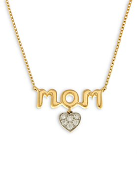 """Bloomingdale's - Diamond Heart Mom Pendant Necklace in 14K Yellow & White Gold 17"""", 0.07 ct. t.w. - 100% Exclusive"""