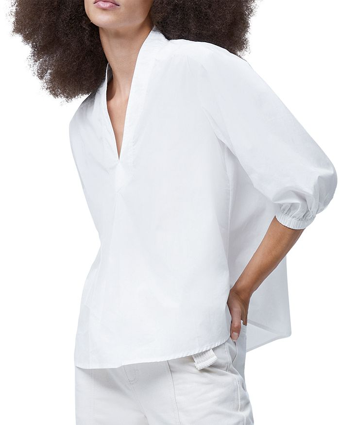 French Connection Posey V Neck Top In Linen White