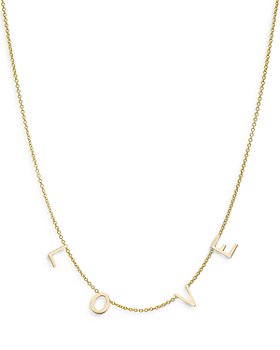 Zoe Lev - 14K Yellow Gold Love Chain Statement Necklace, 16-18""
