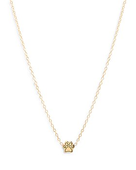 Zoë Chicco - 14K Yellow Gold Itty Bitty Paw Pendant Necklace, 16""