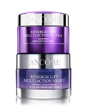 What It Is: A limited-edition set featuring Renergie Lift Multi-Action creams to help minimize signs of aging within one week! Set Includes: - Renergie Lift Multi-Action Ultra Spf 30 Face Cream 1.7 oz. - Renergie Lift Multi-Action Night Cream 2.6 oz. What It Does: Anti-aging meets sun protection with Renergie Lift Multi-Action Ultra Cream with Spf 30. A sunscreen and face cream in one, this anti-aging moisturizer lifts, firms and corrects dark spots. Plus, its luxurious-feeling, lightweight text