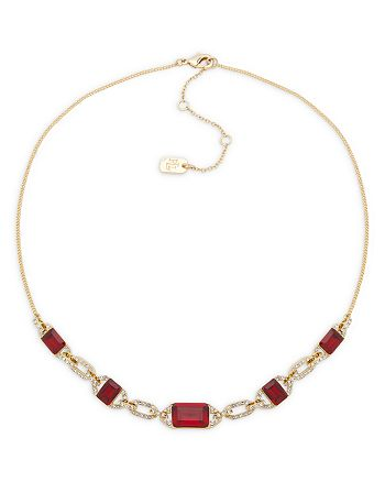 """Ralph Lauren - Pavé & Red Stone Statement Necklace in Gold Tone, 16""""-19"""""""