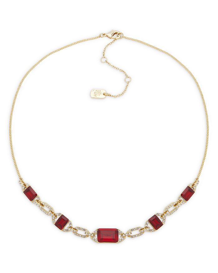 "Ralph Lauren - Pavé & Red Stone Statement Necklace in Gold Tone, 16""-19"""