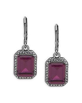 Ralph Lauren - Pavé & Purple Stone Drop Earrings in Hematite Tone