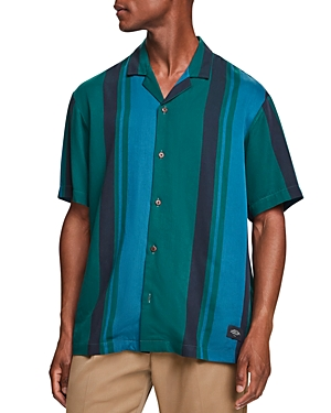 Scotch & Soda Stripe Slim Fit Button Down Camp Shirt-Men