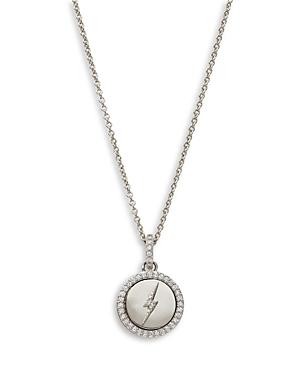 Nadri Adore Cubic Zirconia Lightning Bolt Medallion Pendant Necklace in Silver Plate, 16-18