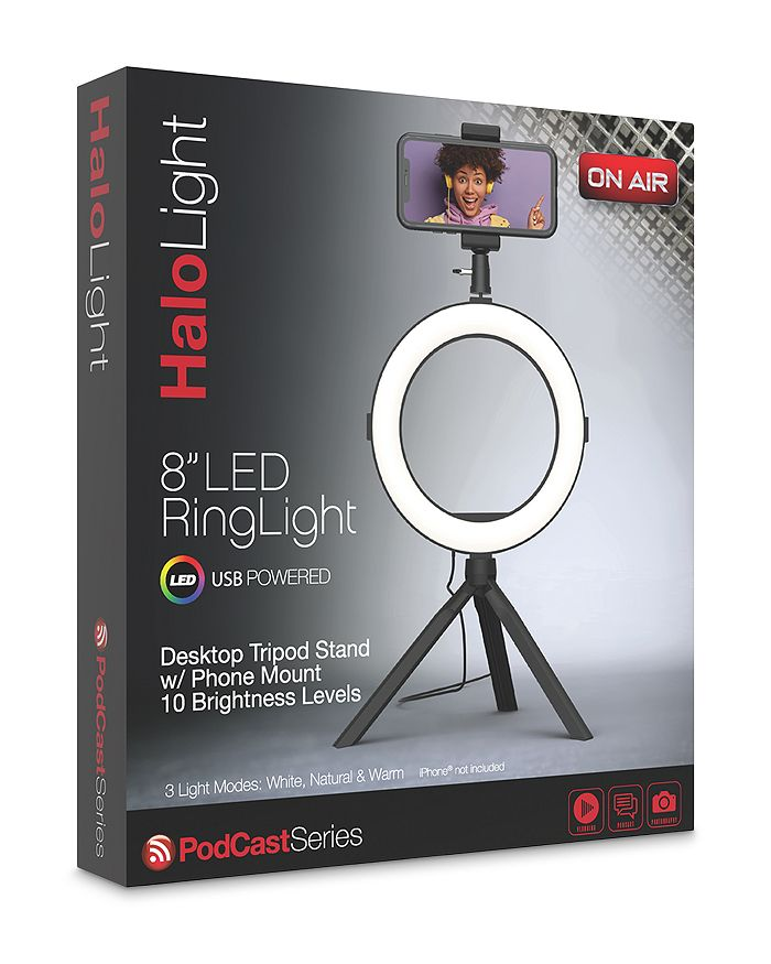 """Tzumi - On Air HaloLight 8"""" LED Ring Light with Desktop Tripod Stand"""