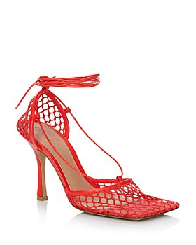 Bottega Veneta - Women's Stretch Mesh Ankle Tie Sandals