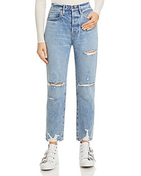 FRAME - Le Original Distressed Straight Leg Jeans in Cascade Blue Rips