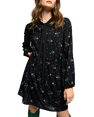 Pinko Next Floral Print Tie Neck Dress-Women