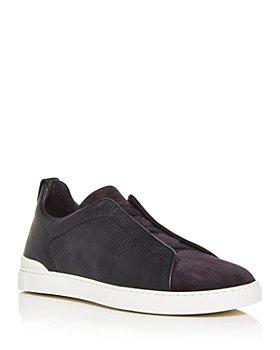 Ermenegildo Zegna - Men's Nav Slip On Sneakers
