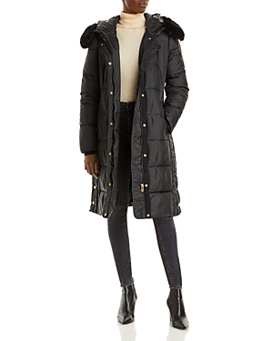 Via Spiga Faux Fur Trim Hooded Puffer Coat-Women