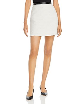 Rebecca Taylor - Faux Leather Trim Tweed Skirt