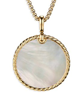 David Yurman - Large Cable Disc Amulet in 18K Yellow Gold with Mother-of-Pearl