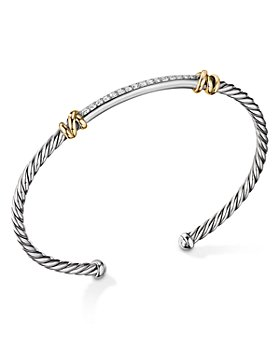 David Yurman - Sterling Silver Petite Helena Two Station Wrap Bracelet in 18K Yellow Gold with Diamonds