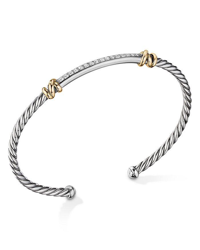 David Yurman - Sterling Silver Petite Helena Two Station Wrap Bracelet in 18K Yellow Gold with Diamonds