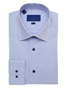 David Donahue - Mini Check Trim Fit Dress Shirt
